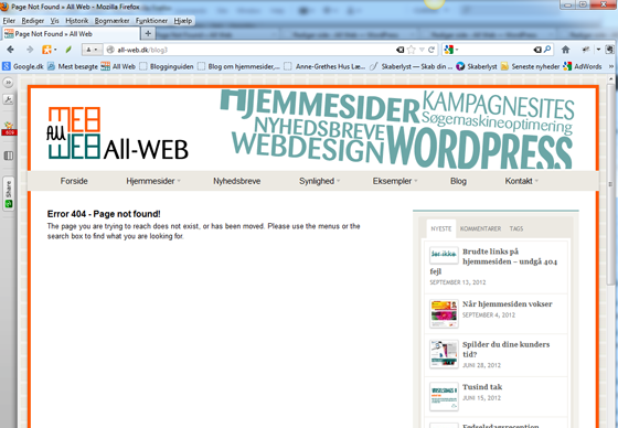 Ikke særlig venlig fejlside-404
