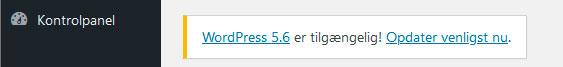 Opdater venligst WordPress